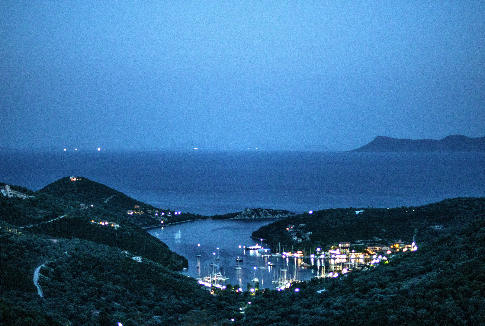 Night view of Lefkada